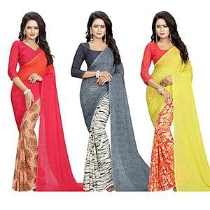 Pleasance Casual Wear Printed Georgette Half-Half Saree - Pack of 3