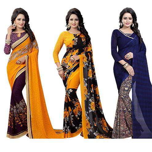 Sophisticated Casual Wear Printed Georgette Half-Half Saree - Pack of 3