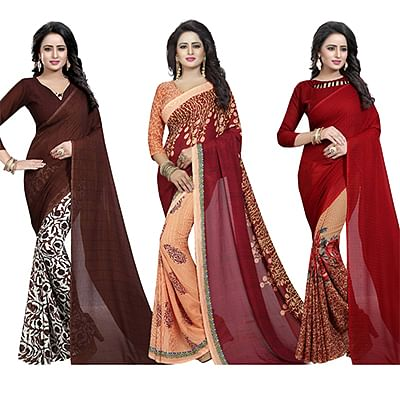 Pleasing Casual Wear Printed Georgette Half-Half Saree - Pack of 3