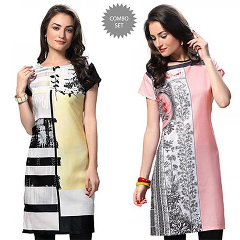 Stylish White And Pink Casual Wear Printed Kurti - Pack of 2