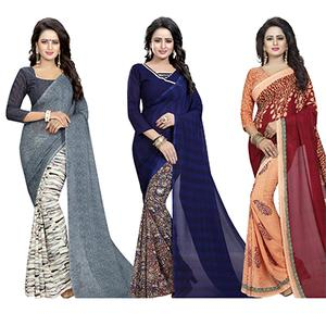Fetching Casual Wear Printed Georgette Half-Half Saree - Pack of 3
