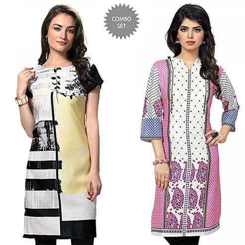 Graceful White Casual Wear Printed Kurti - Pack of 2