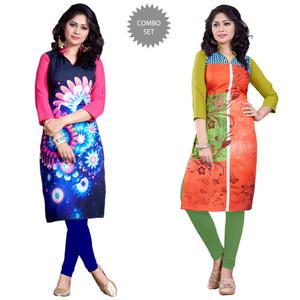 Navy Blue-Orange Colour Casual Wear Digital Printed Poly Rayon Kurti (Pack Of 2)