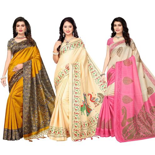 Marvelous Festive Wear Printed Saree - Pack of 3