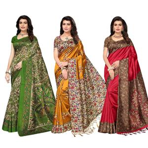 Striking Festive Wear Printed Art Silk Saree - Pack of 3