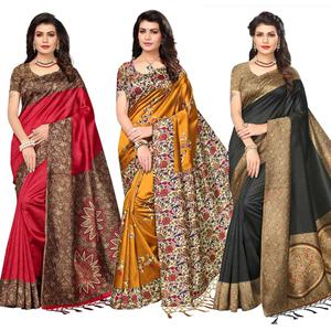 Beautiful Festive Wear Printed Art Silk Sarees - Pack Of 3