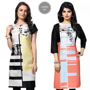 Gorgeous White And Multi Casual Wear Printed Kurti - Pack of 2