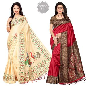 Dazzling Cream - Maroon Colored Printed Saree - Pack of 2