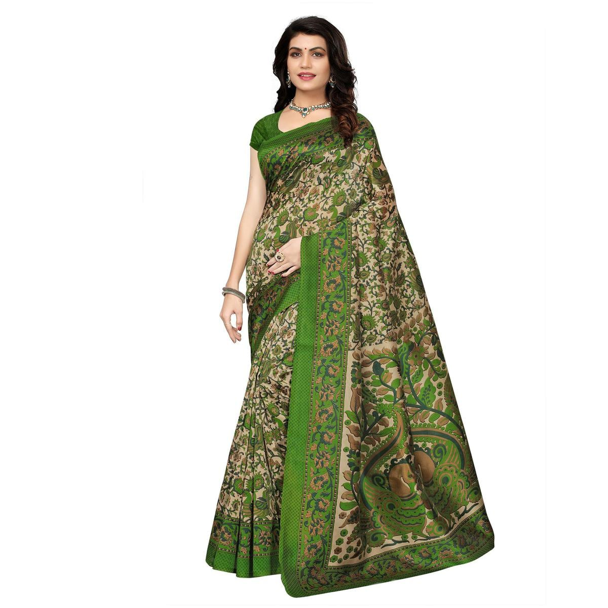 Adorning Pink - Green Festive Wear Printed Saree - Pack of 2