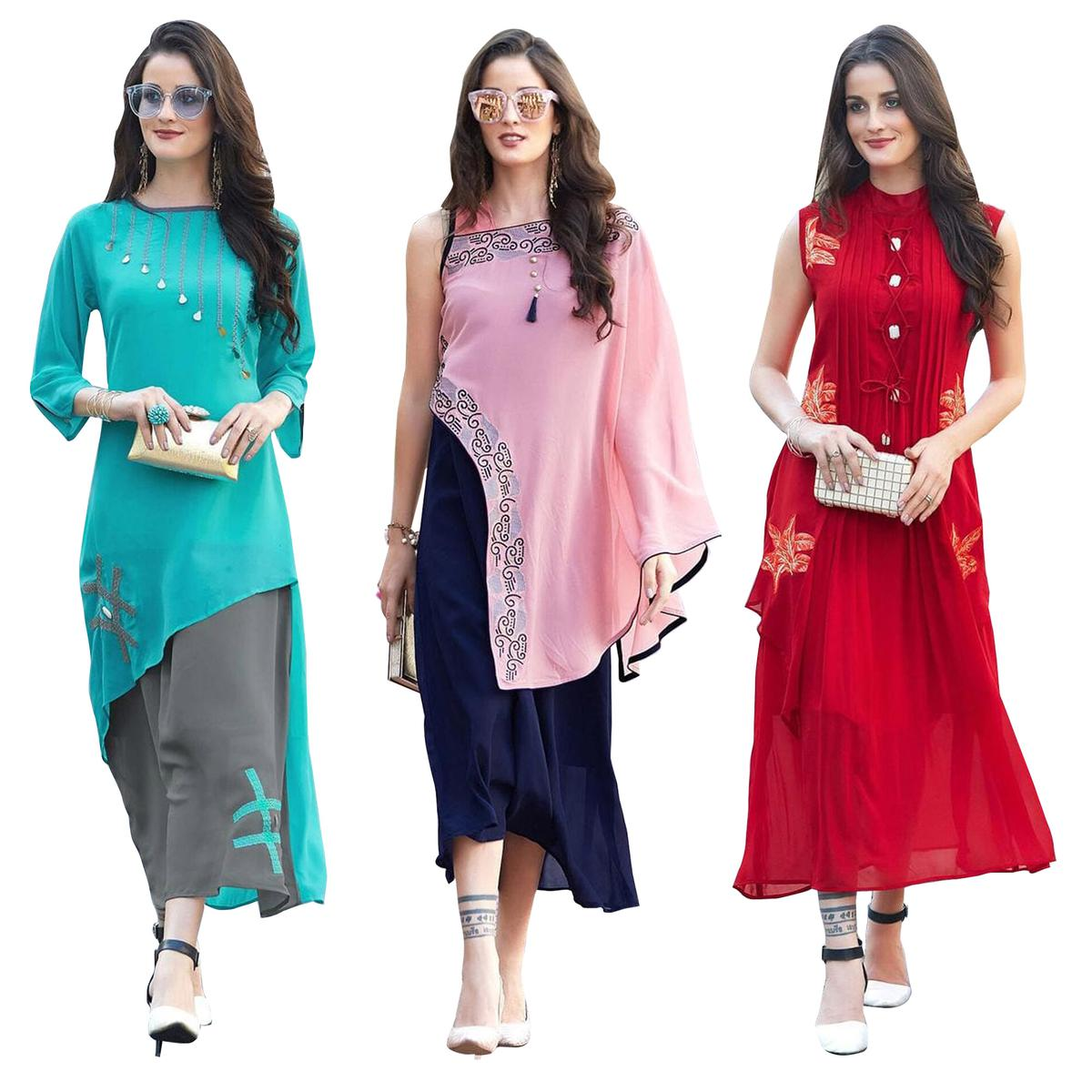 7324721bc Buy Groovy Party Wear Embroidered Georgette Kurti - Pack of 3 for womens  online India