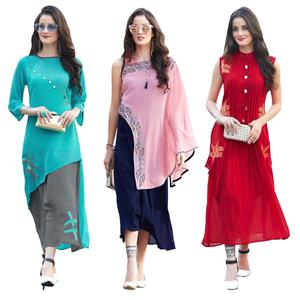 Groovy Party Wear Embroidered Georgette Kurti - Pack of 3