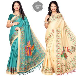 Pretty Festive Wear Printed Khadi Silk Saree - Pack of 2