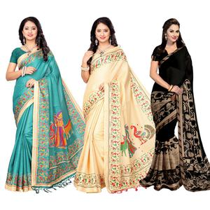 Ravishing Printed Khadi Silk And Georgette Saree - Pack of 3