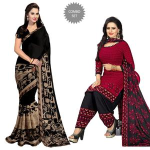 Beautiful Casual Printed Saree And Dress Material - Pack of 2