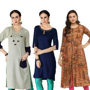 Dazzling Casual Printed Rayon Kurti - Pack of 3