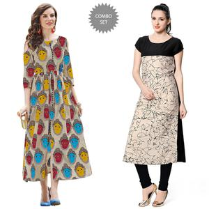 Attractive Casual Printed Rayon Kurti - Pack of 2