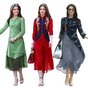 Demanding Partywear Embroidered Georgette Kurti - Pack of 3