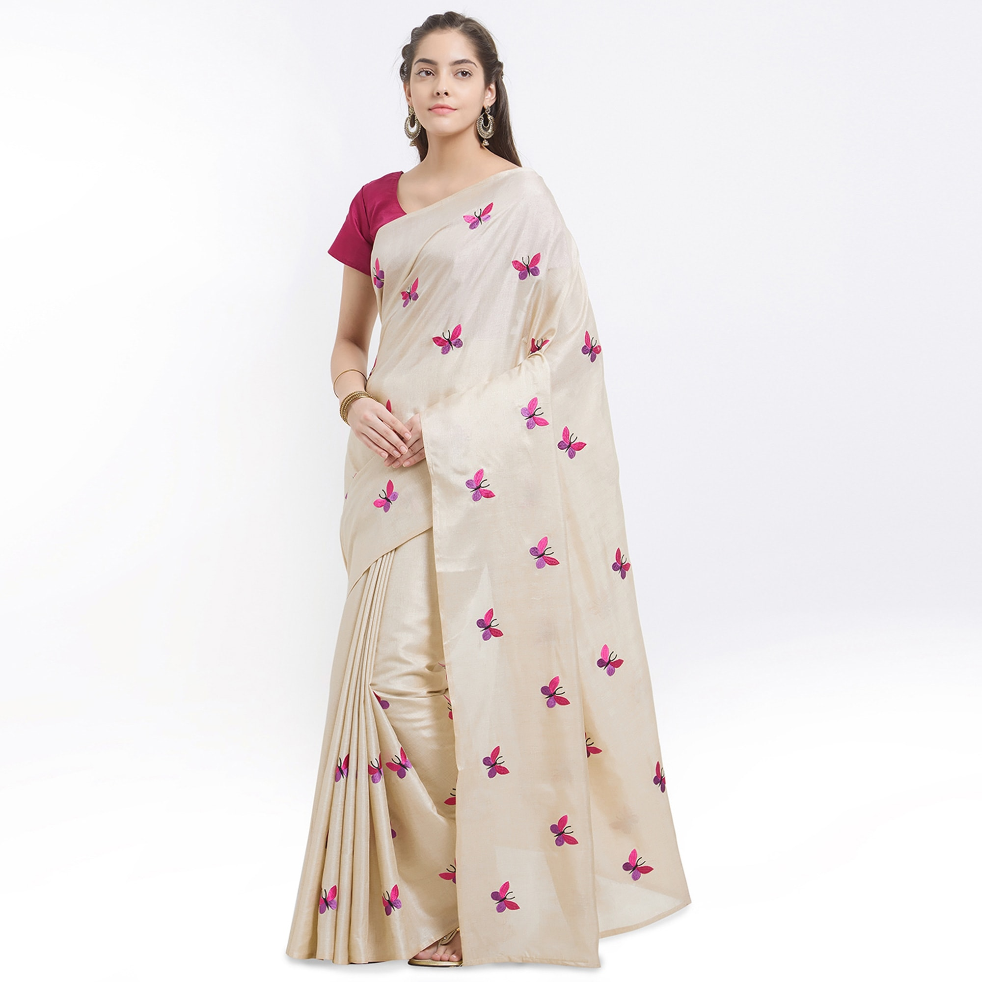 Classy White And Cream Colored Embroidered Saree Combo - Pack of 2