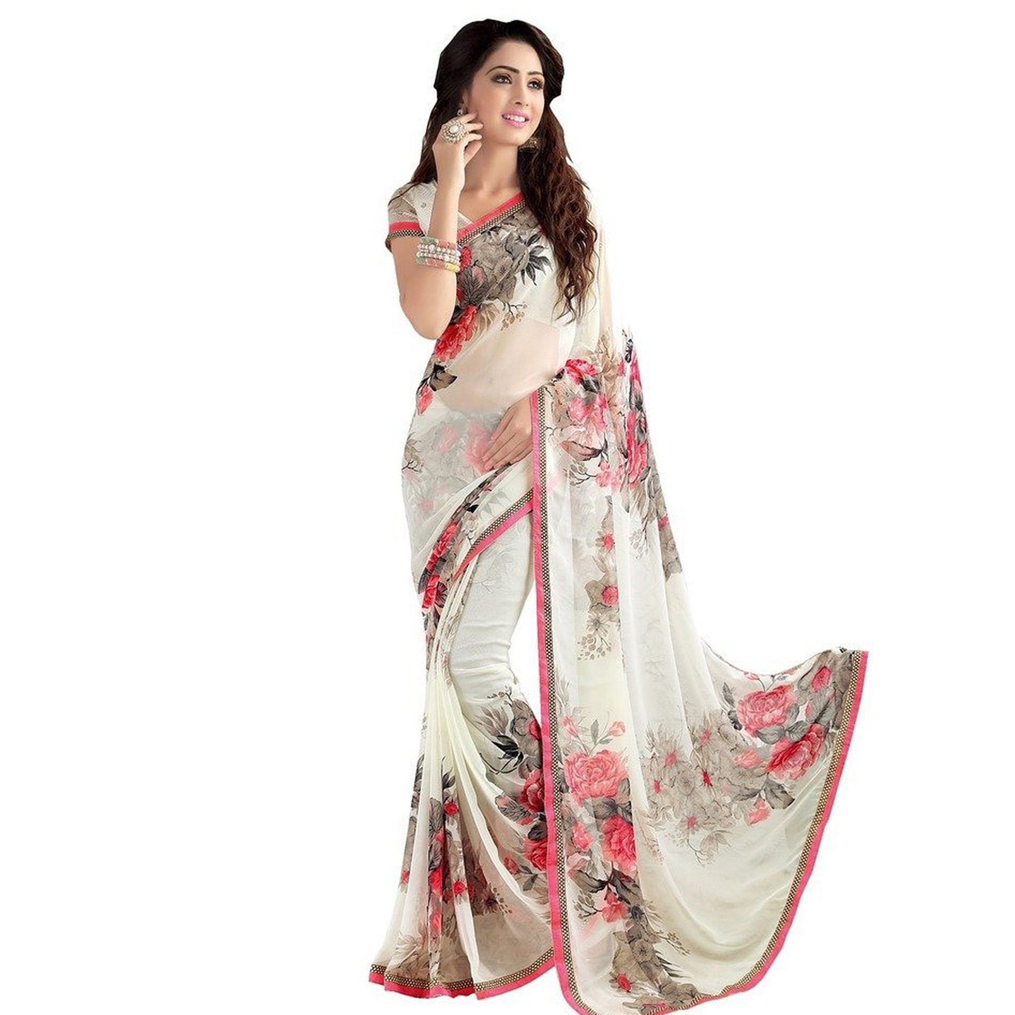 Mesmerising Casual Printed Georgette Saree - Pack of 2