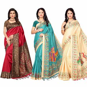 Beautiful Casual Printed Art Silk-Khadi Silk Saree - Pack of 3