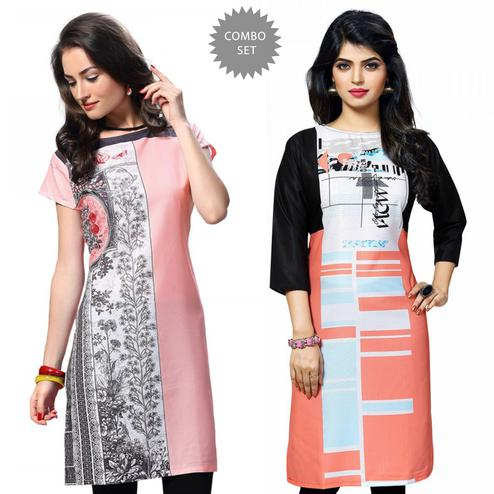 Charming Pink And Multi Casual Wear Printed Kurti - Pack of 2