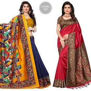 Majestic Casual Printed Art Silk Saree - Pack of 2
