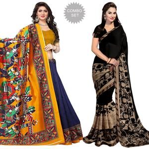 Adorning Casual Printed Art Silk-Georgette Saree - Pack of 2