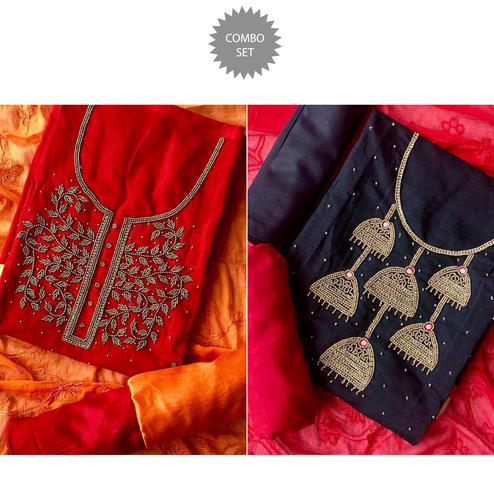 Classy Embroidered Chanderi Cotton Dress Material - Pack of 2