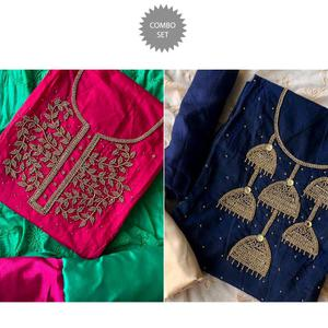Beautiful Embroidered Chanderi Cotton Dress Material - Pack of 2