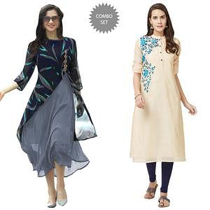 Classy Georgette And Pure Chanderi Kurtis - Pack Of 2