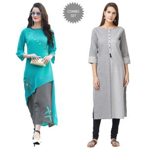 Graceful Georgette And Pure Handloom Cotton Kurtis - Pack Of 2