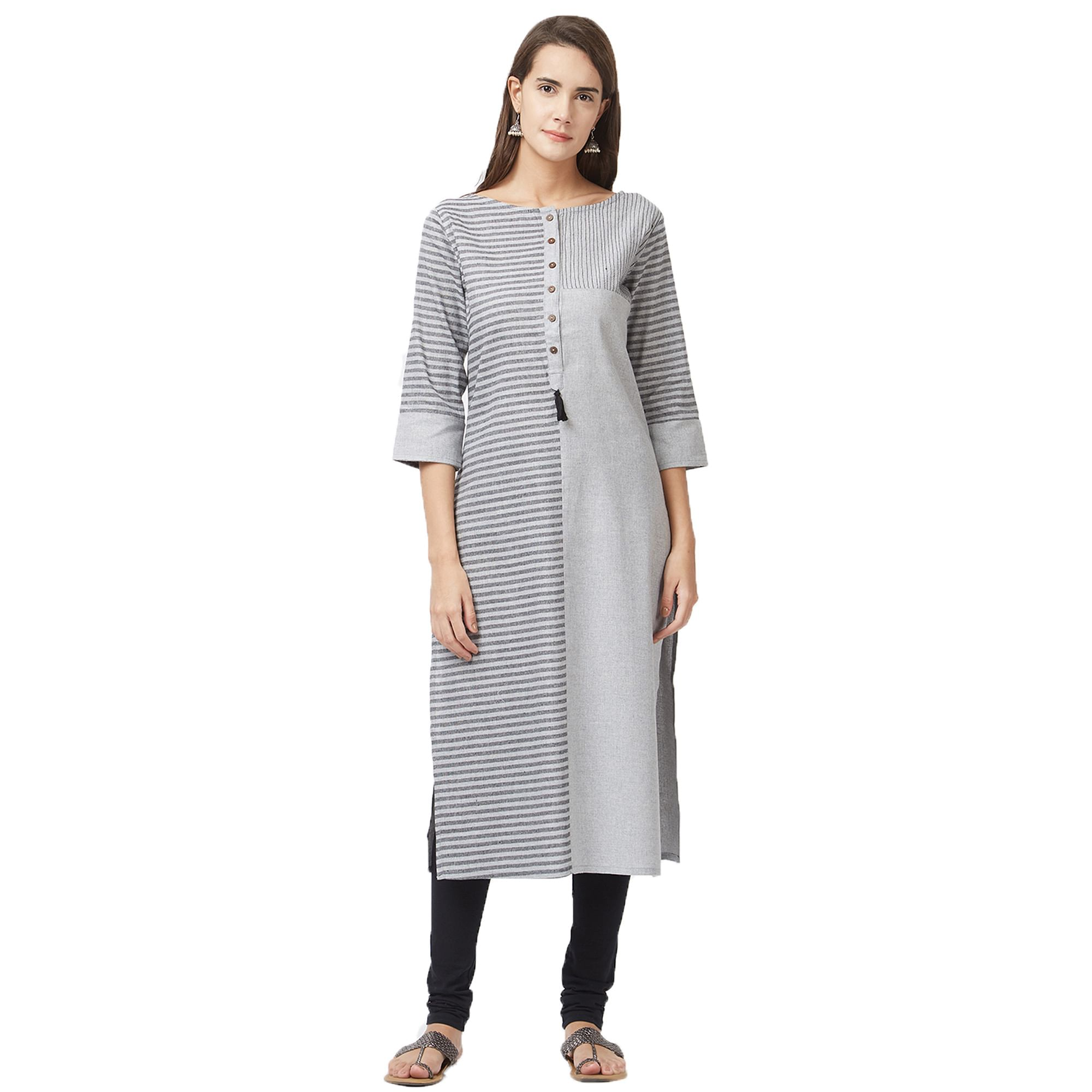Alluring Georgette And Pure Handloom Cotton Kurtis - Pack Of 3
