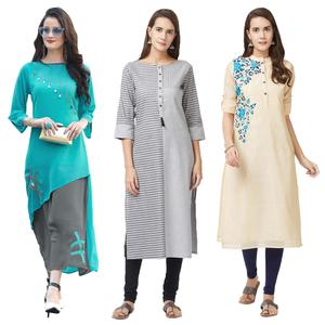 Attractive Georgette, Pure Handloom Cotton And Pure Chanderi Kurtis - Pack Of 3