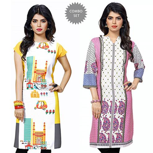 Graceful Yellow And White Casual Wear Printed Kurti - Pack of 2