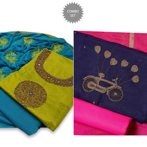 Impressive Partywear Embroidered Modal-Chanderi Cotton Dress Material - Pack of 2