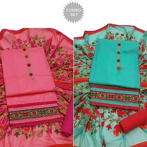 Desiring Partywear Embroidered Modal Dress Material - Pack of 2
