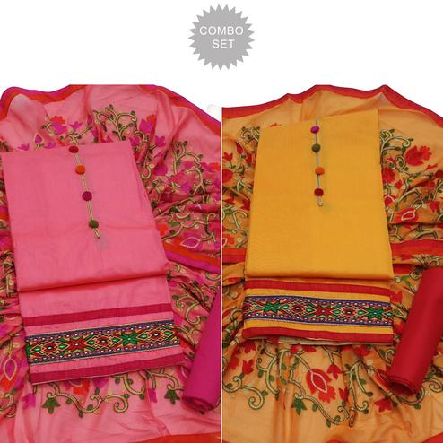 Glowing Partywear Embroidered Modal Dress Material - Pack of 2