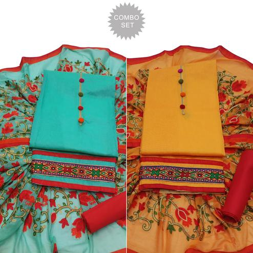 Blooming Partywear Embroidered Modal Dress Material - Pack of 2