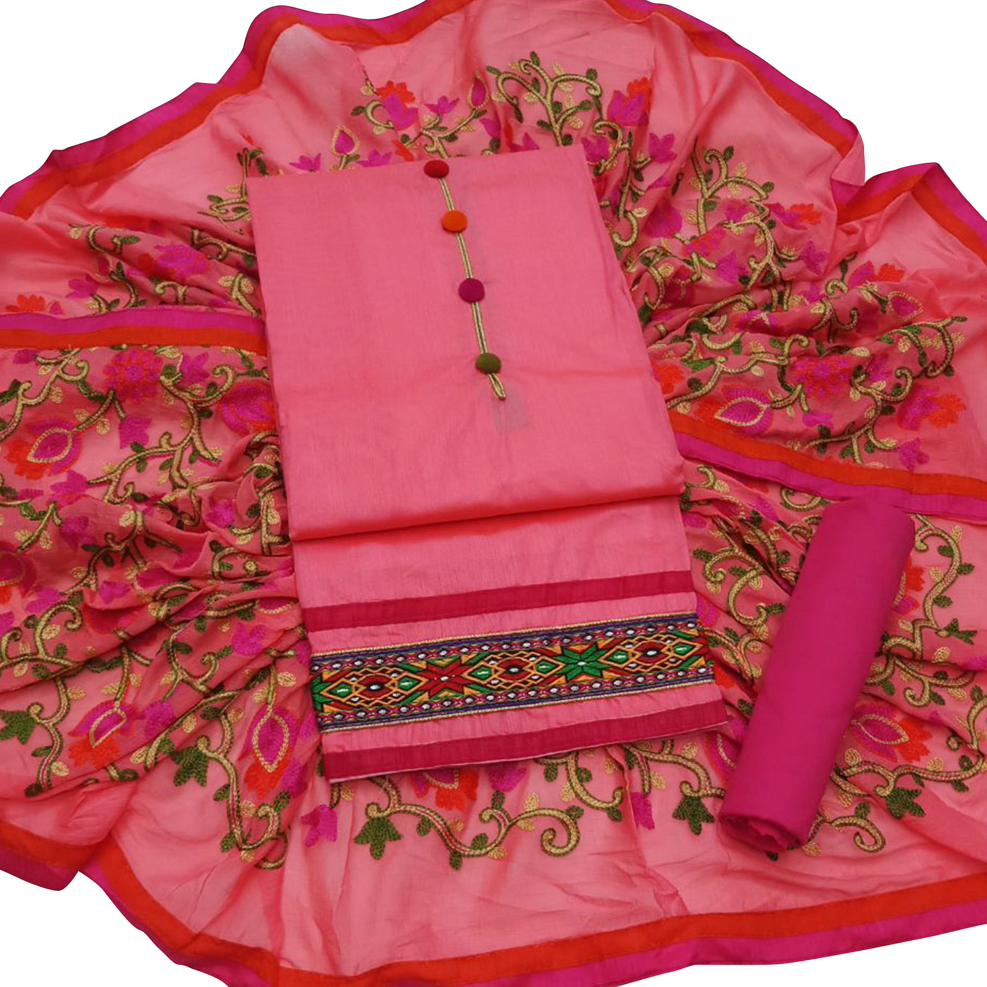 Amazing Partywear Embroidered Modal Dress Material - Pack of 3