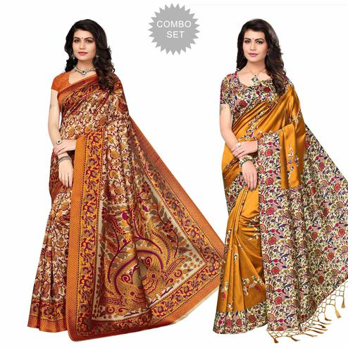 Adorning Festive Wear Printed Bhagalpuri-Art Silk Saree - Pack of 2
