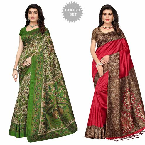 Beautiful Festive Colored Printed Art Silk Saree - Pack of 2