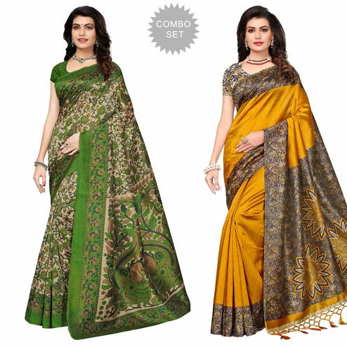 Impressive Festive Wear Printed Art Silk Saree - Pack of 2