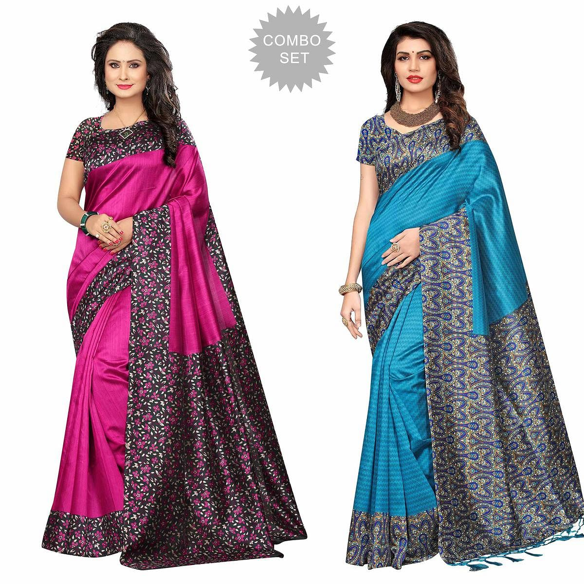 Attractive Festive Wear Printed Bhagalpuri-Art Silk Saree - Pack of 2