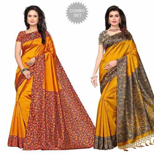 Opulent Festive Wear Printed Bhagalpuri-Art Silk Saree - Pack of 2