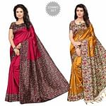 Desiring Festive Wear Printed Bhagalpuri-Art Silk Saree - Pack of 2
