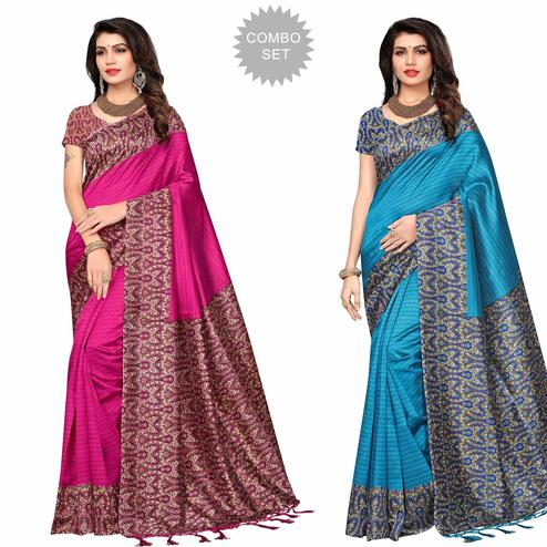 Blooming Festive Wear Printed Art Silk Saree - Pack of 2