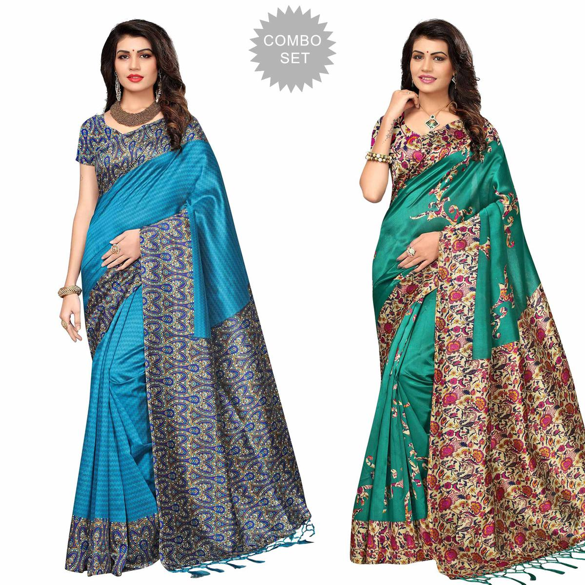Appealing Festive Wear Printed Art Silk Saree - Pack of 2