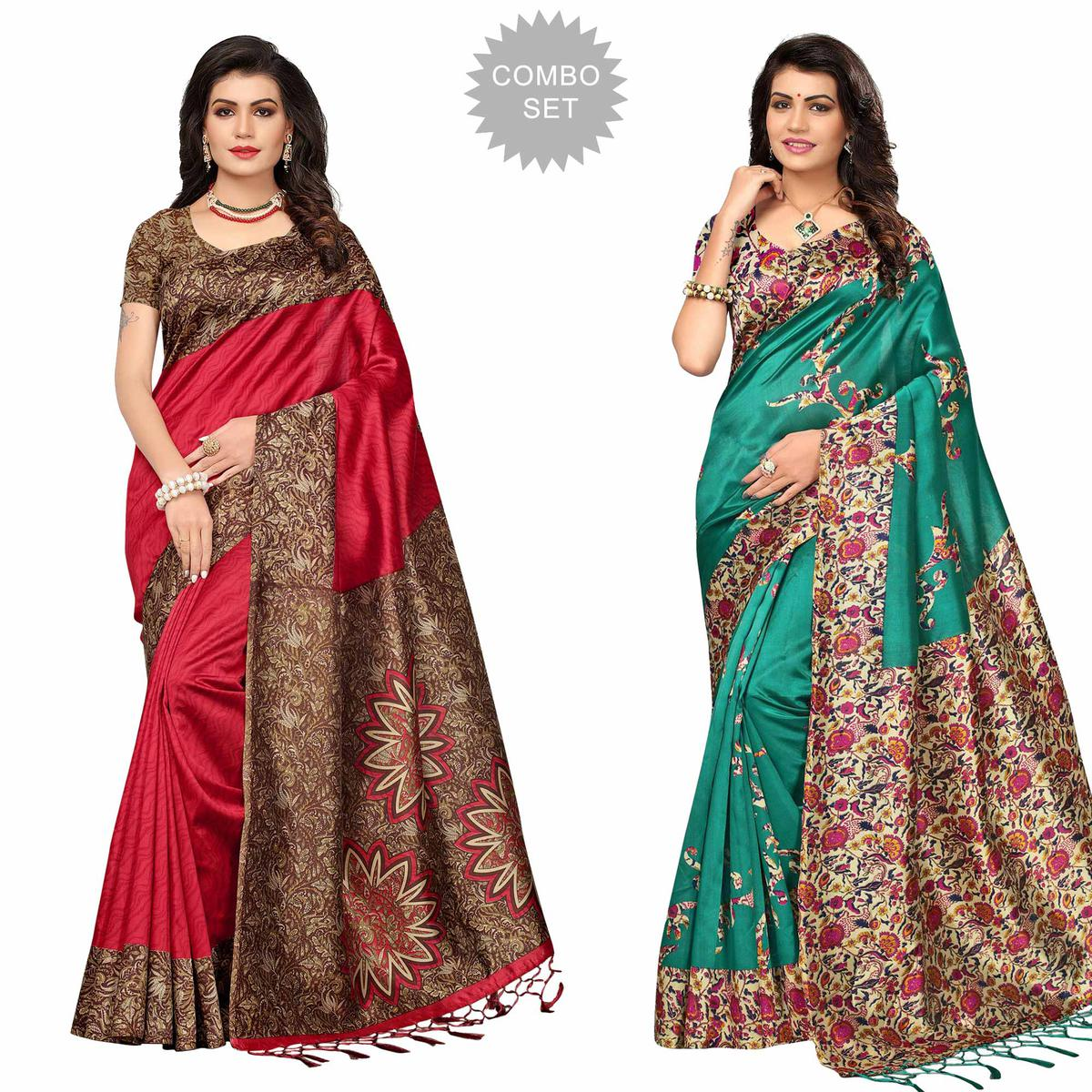Amazing Festive Wear Printed Art Silk Saree - Pack of 2