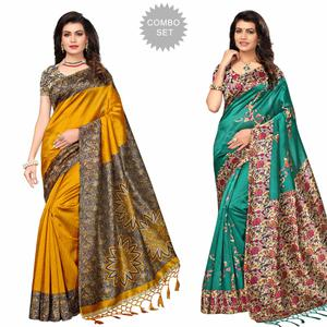 Lovely Festive Wear Printed Art Silk Saree - Pack of 2