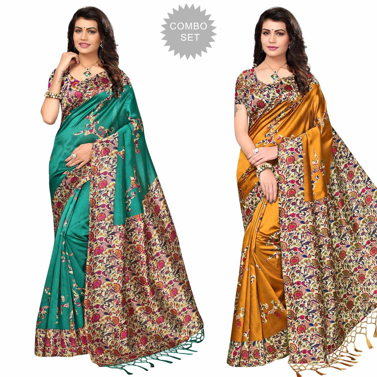 Demanding Festive Wear Printed Art Silk Saree - Pack of 2